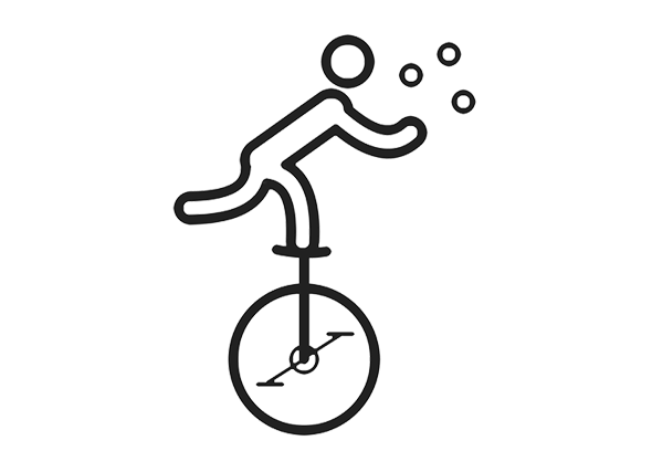 Line drawing of a figure on a unicycle juggling balls